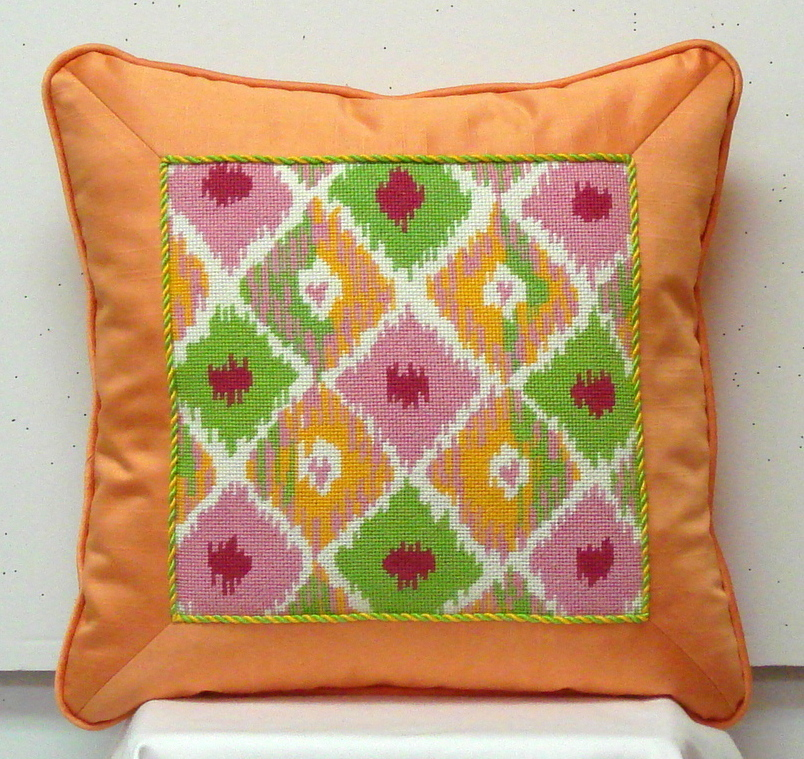 Ikat Square w/ 4 Hearts   (Handpainted by Kate Dickerson Needlepoint Collection)