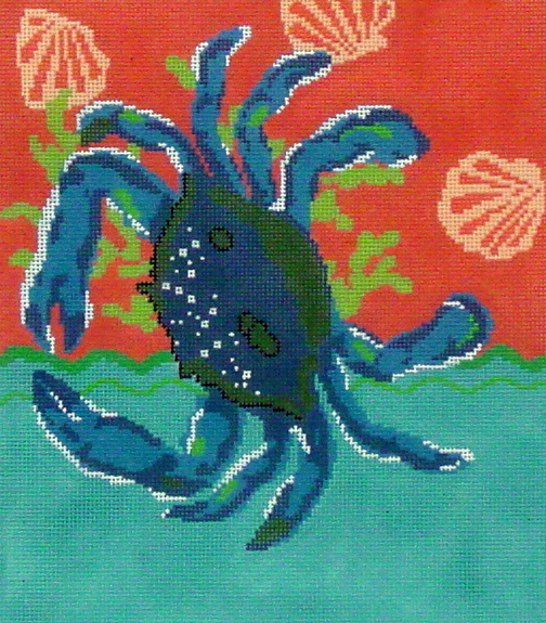Blue Crab with Coral     (Handpainted by The Point of It All Designs) 18*P320