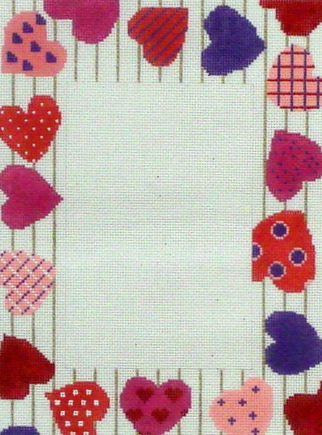 Happy Hearts  Picture Frame by Julia's Needleworks (Hand Painted Needlepoint Canvas) 18* JF54-JF54
