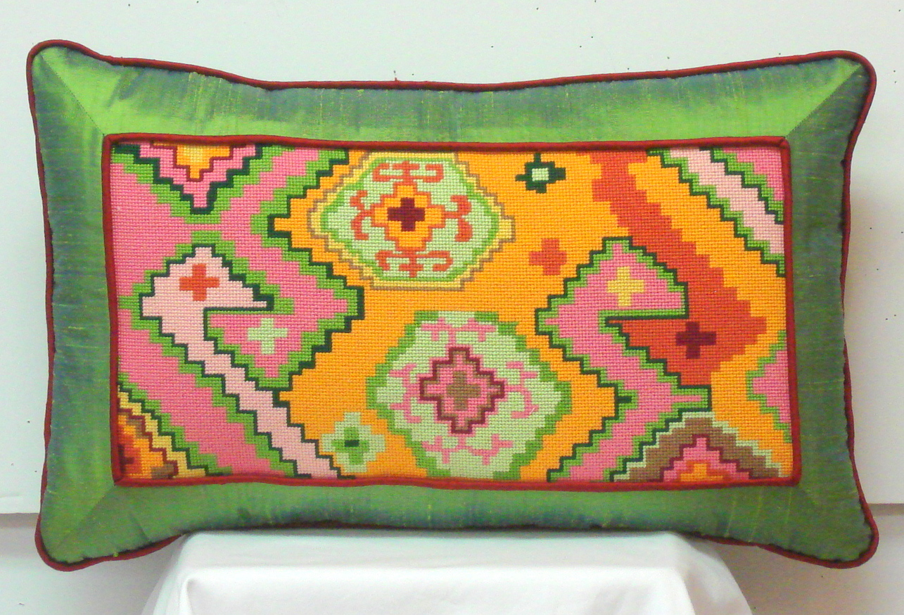 Kilim Rectangle Rectangle w/ Duck Head Motif   (Handpainted by Kate Dickerson)