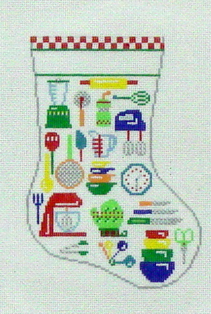 Kitchen Utensils Mini Sock (handpainted by Susan Roberts) 18*EP-1201