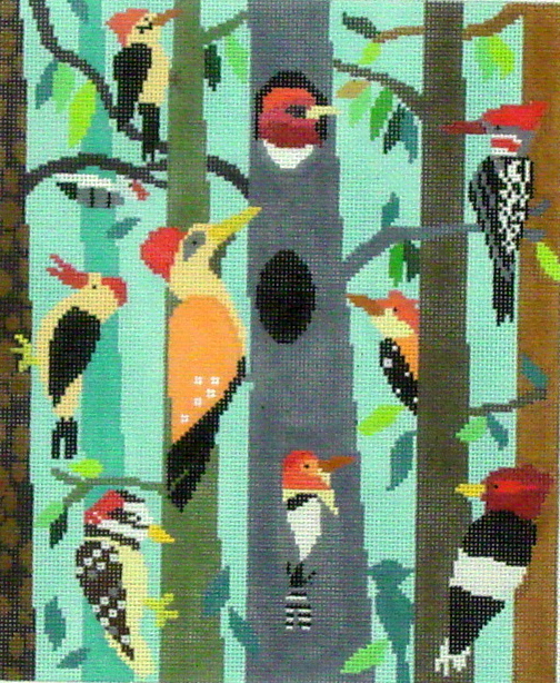 Woodpecker Hollow   (Handpainted by Birds of a Feather) 18*AS-756