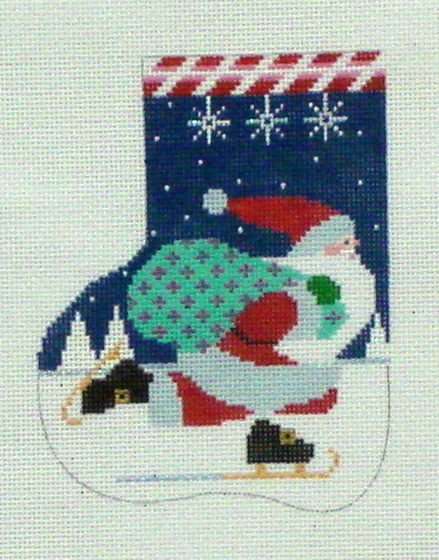 Skating Santa Mini Sock (Handpainted by Shelly Tribbey Designs) 18*C697