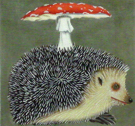 Hedgehog/Mushroom  (handpainted by Melissa Shirley) 18*VS-125B