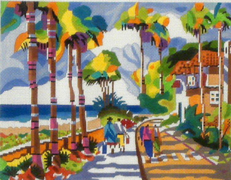 Palm Beach Morning (Handpainted from Purple Palm Designs) 18*11