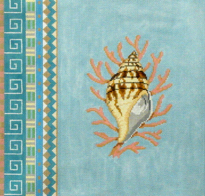 Geo Pattern Lighting Whelk   (handpainted by Susan Roberts) 18*1047