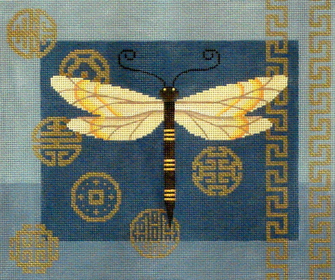 Dragonfly & Coins on Blue      (JP Needlepoint) *B017