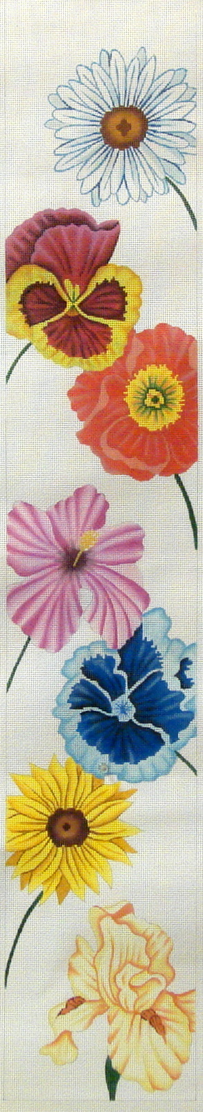 Happy Flowers Bell Pull     (Handpainted by JP Needlepoint) 18*V-047