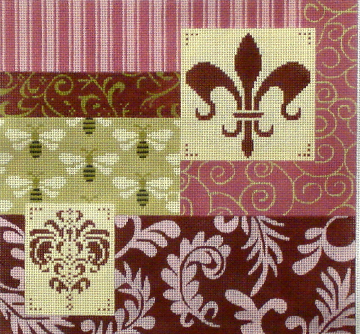Mauve Patch W/Fleur and Bees   (Handpainted by JP Needlepoint) 18*L-354