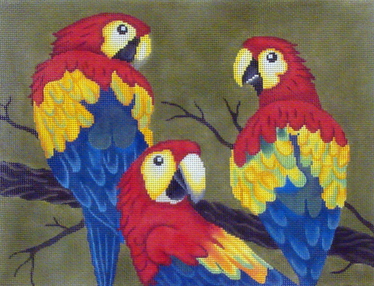 3 Parrots in a Tree   (Hand painted by JP Designs) 18*B-035