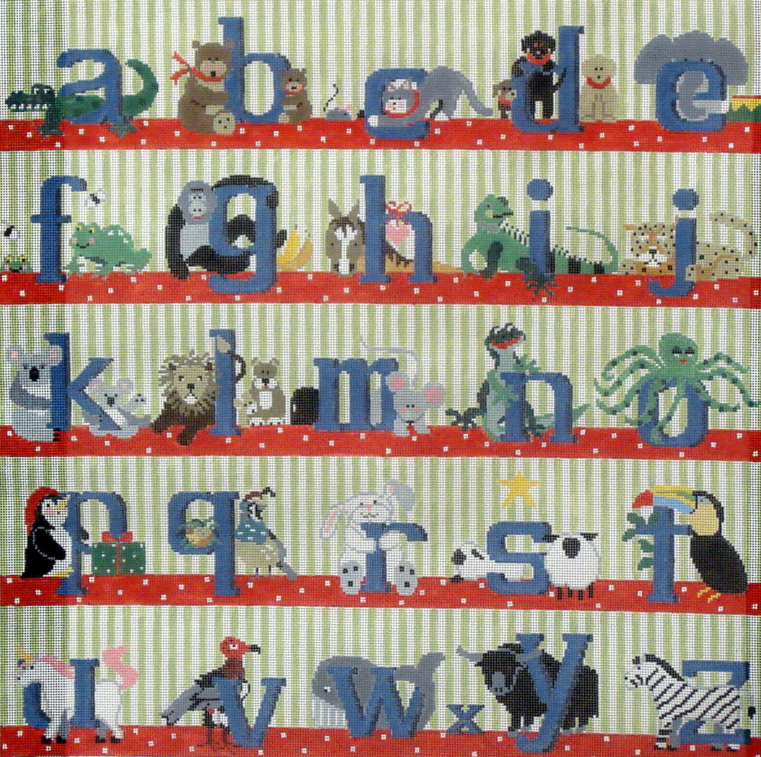 Alphabet Square Rug/Wall Hanging (Boy, Blue Letters) (handpainted by Kathy Schenkel) 18*PW-O51