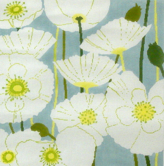 White Poppies     (handpainted by The Meredith Collection) 18*C-441