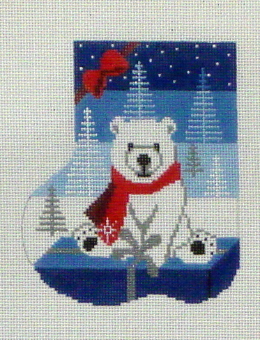 Polar Gift Mini Sock   (Handpainted by Shelly Tribbey Designs) 18*C233