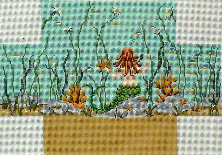 Mermaid Brick Cover     (Handpainted from Needle Crossings)