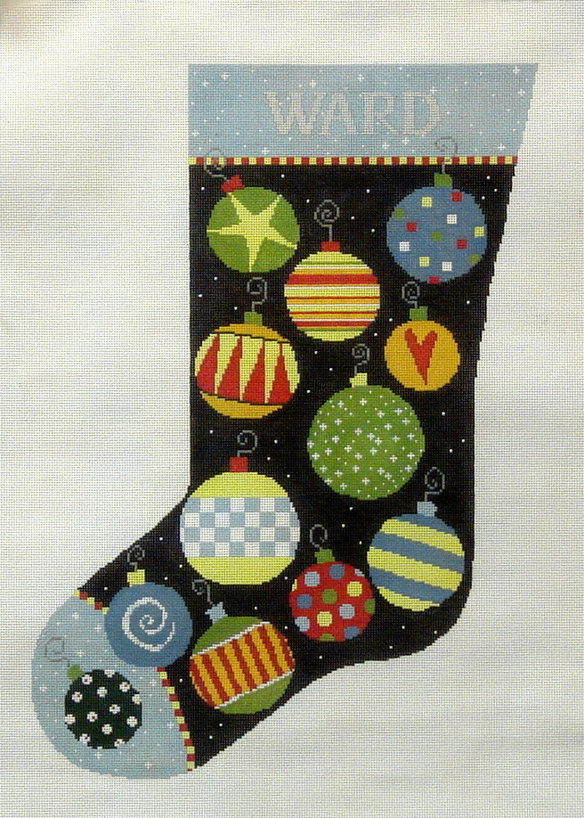 Bauble Stocking  (handpainted needlepoint canvas from Pippin Designs) 18*P-CH-005