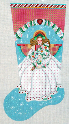 Peppermint Stick Angel Stocking   (handpainted by Melissa Shirley) 18*842