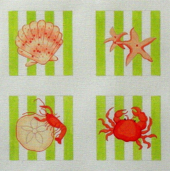 Shell Coasters  (Handpainted by Kate Dickerson Needlepoint Collection) 18*CO4-03