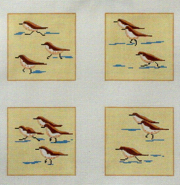 Sandpiper Coasters   (Handpainted by Kate Dickerson Needlepoint Collection) 18*C04-08