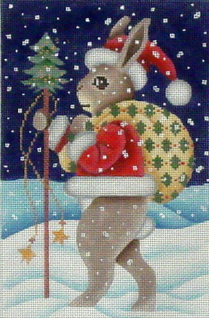 Santa Rabbit   (Handpainted by Brenda Stofft Designs) 18*B-142