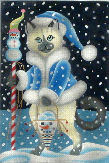 Snow Cat  (Handpainted by Brenda Stofft Designs) 18*B-153