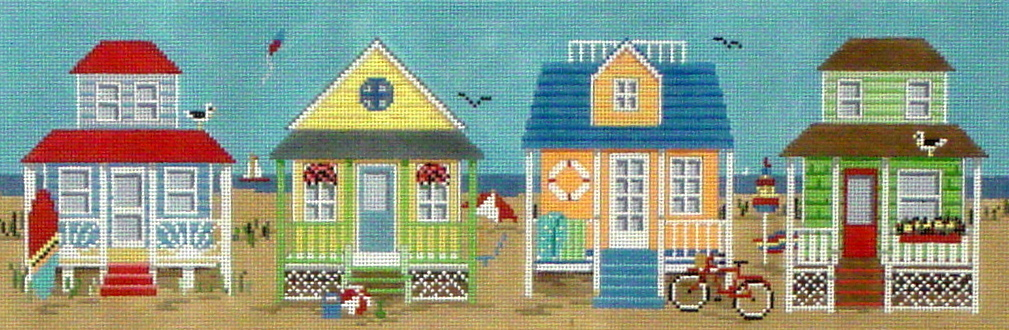 Beach Houses  (Hand painted canvas by Susan Roberts) 18*1164