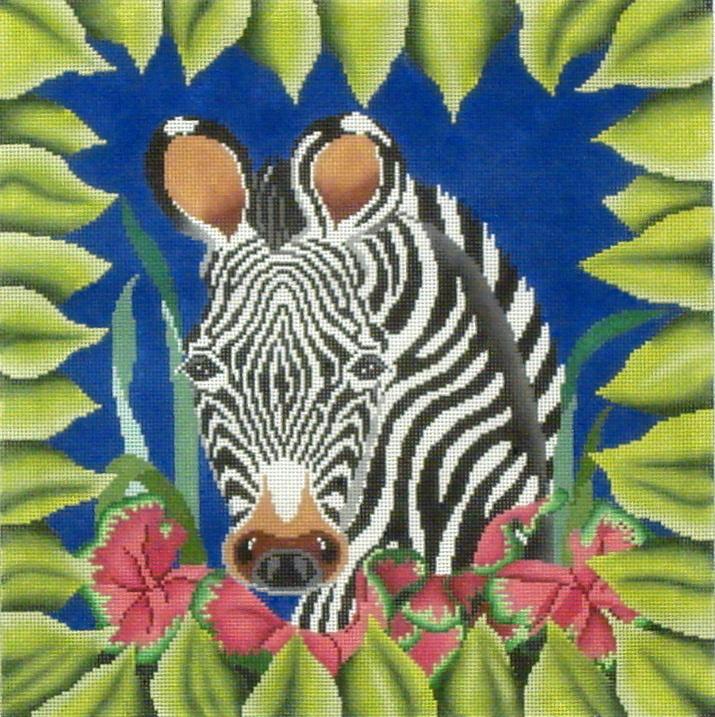 Zebra in the Greens  (handpainted by JP Designs) 18*DA-017