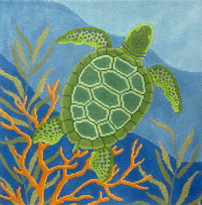 Seaweed Coral Turtle       (handpainted by Susan Roberts) 18*1053