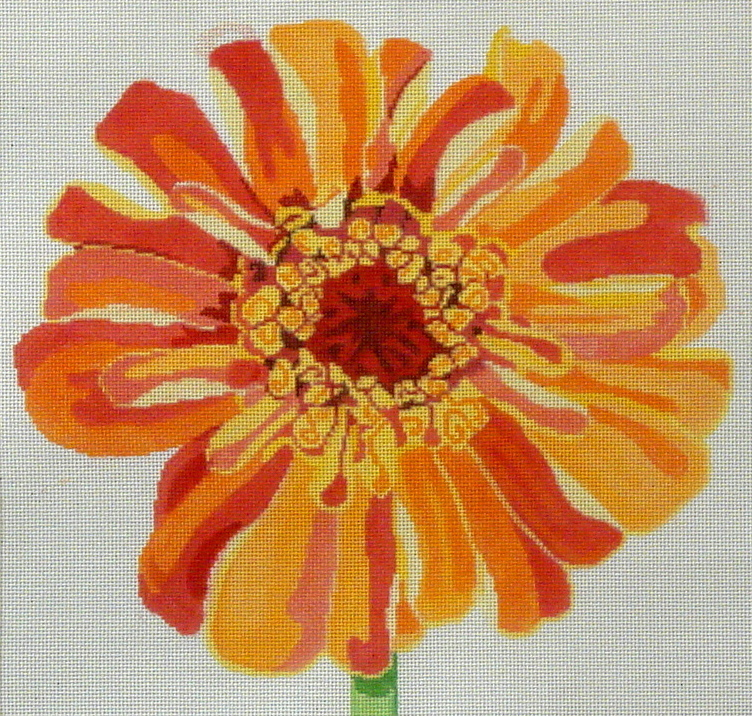 Regal Orange Zinnia       (handpainted by Jean Smith) 18*15LL