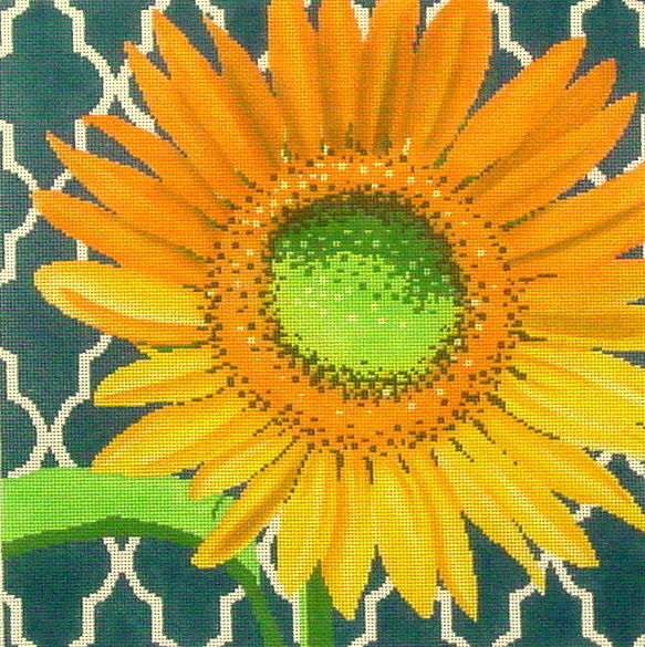 Sunflower on Teal  (handpainted by The Meredith Collection) 18*C-461D