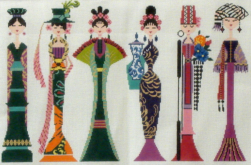 Row of Ladies  (Handpainted from Colonial Needle)