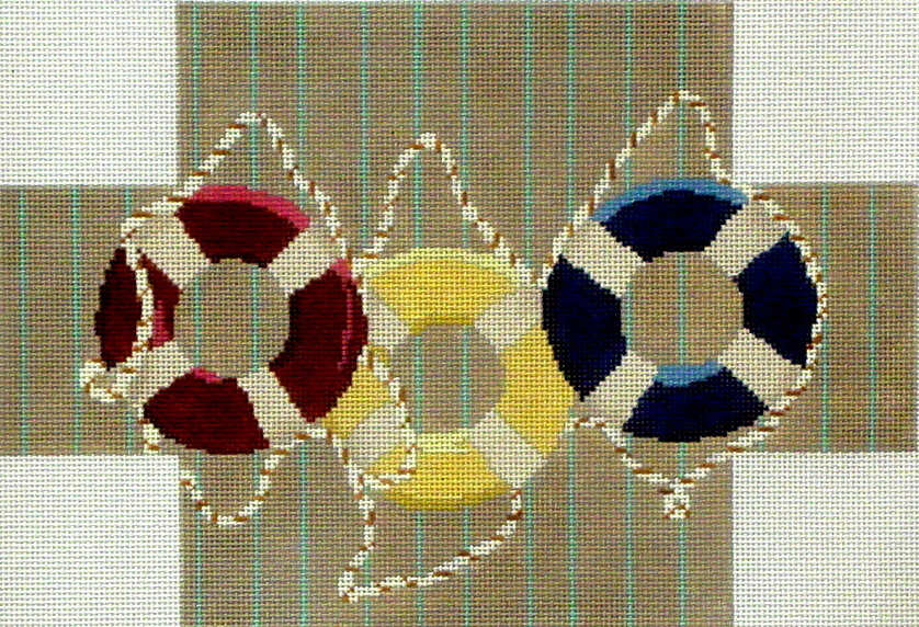 Life Rings Brick Cover   (handpainted by CBK Needlepoint Collection) 18*LMB-C03