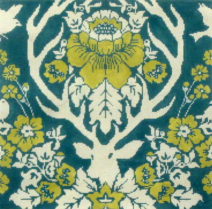 Antler Damask  Peacock  (Handpainted by Cooper Oaks) 18*JD-4006P