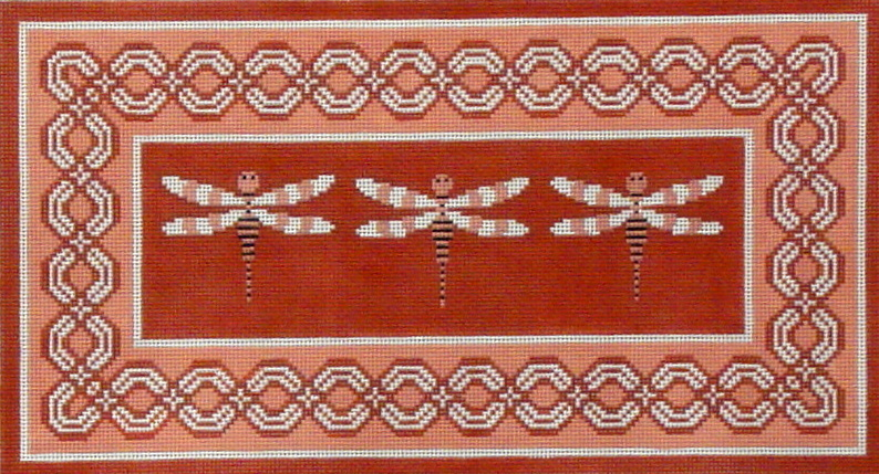 Persimmon Dragonflies  (Handpainted by JP Needlepoint) 18*B-089