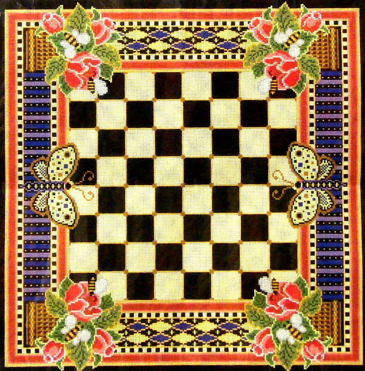 Ghristmas Roses Game Board  (handpainted canvas by Canvasworks) 185*GB11