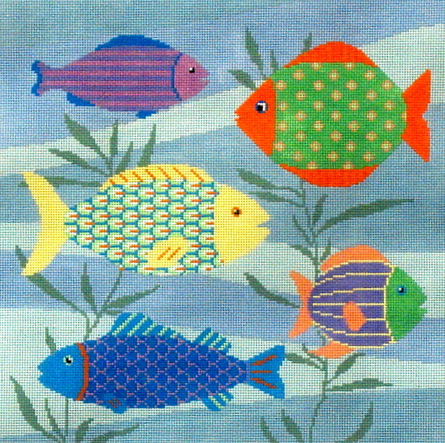 Colorful Fish  (Handpainted Needlepoint Design by Susan Roberts) *1052-179
