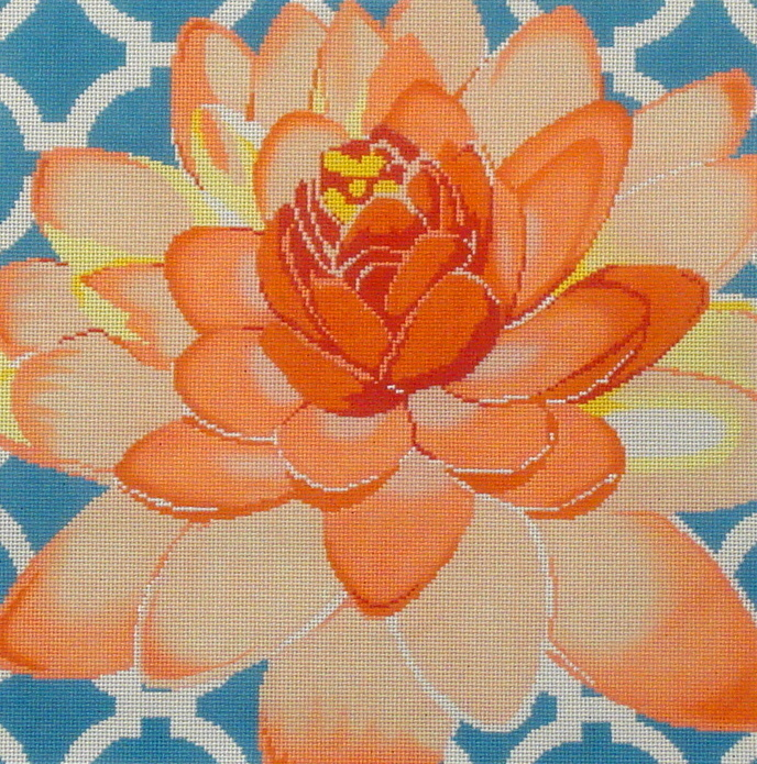 Water Lily On Aqua   (handpainted by The Meredith Collection) 18*C-461c