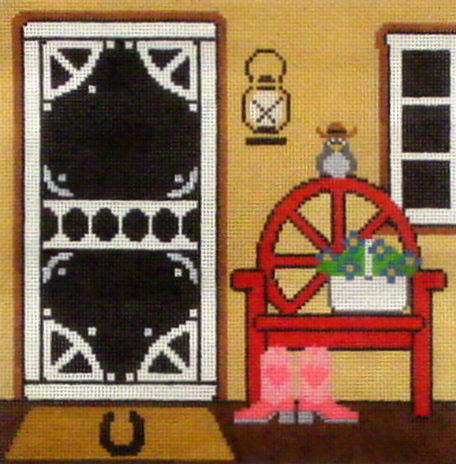Texas Doorway   (Handpainted by Wellesley Needlepoint Collection) 18*WELL0164