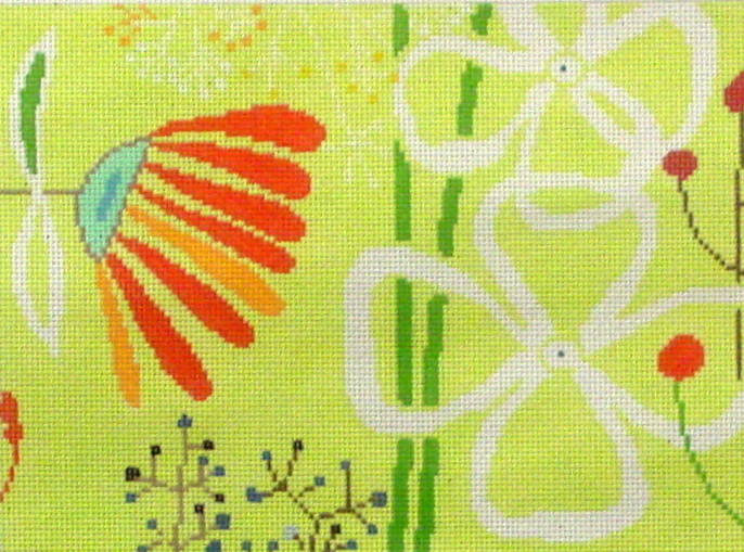 Flower, Yellow Background    (Handpainted from Birds of a Feather) 18*DI-614