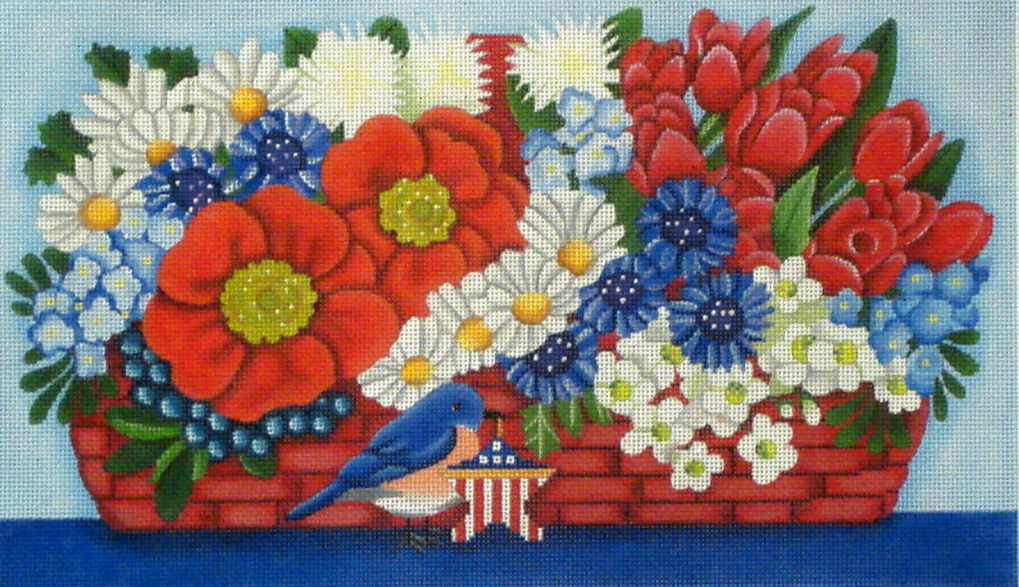July Basket with Stitch Guide   (handpainted by Melissa Shirley) 18*1794