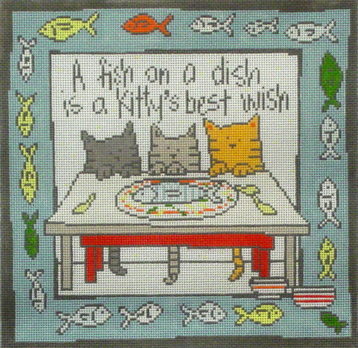 Fish on a Dish   (handpainted by Pippin) 17*ET-015