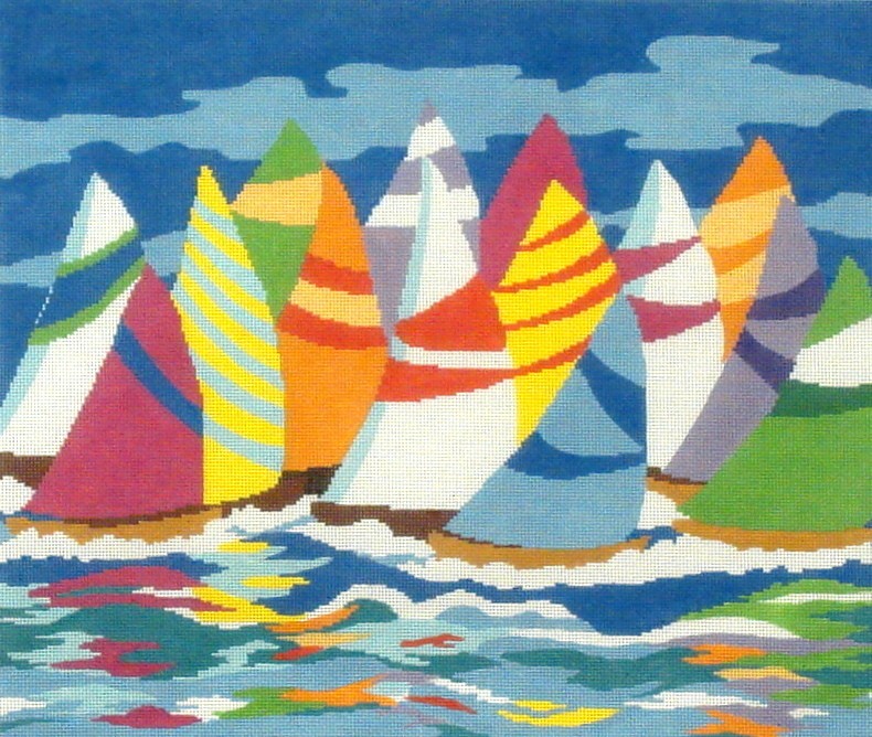 Sailboats  (Handpainted by the Meredith Collection)