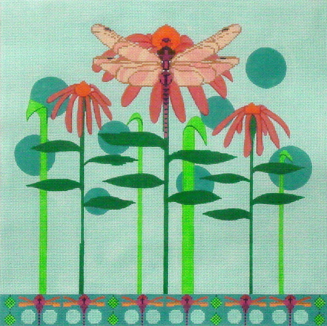 Dragonfly Flowers/w stitch guide  (Handpainted by Ruth Schmuff Designs) 18*7117