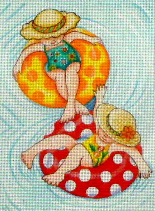 Inner Tube Girls  (hanpainted by Mary Engelbreit) 18*ME-BH01