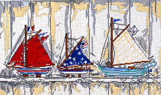 Boats on Shelf     (Handpainted by Cooper Oaks Design)