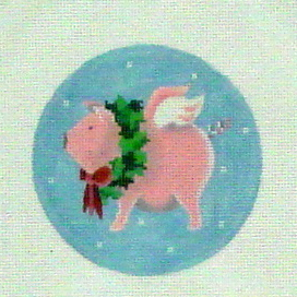 Flying Pig with Wreath    (Handpainted by Pepperberry Designs)
