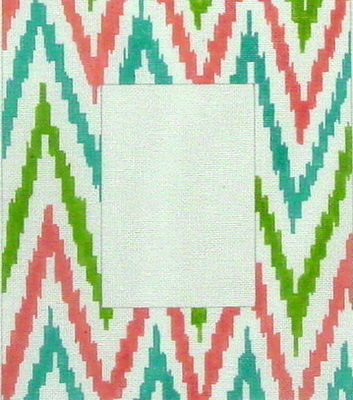 Picture Frame, IKAT Coral, Olive and Aqua (Handpainted by Kate Dickerson Needlepoint Collection)