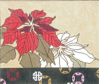 Poinsettia with Coins       (Handpainted by Red Thread Designs)