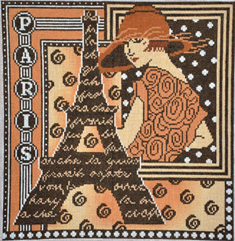 Paris in Brown  (hand painted from Mindy's needlepoint factory)