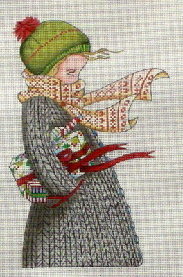 Chilly Christmas  (handpainted needlepoint canvas by Mary Engelbreit)