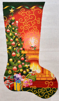 Christmas Room Stocking (Handpainted needlepoint canvas from Lee Needlearts)